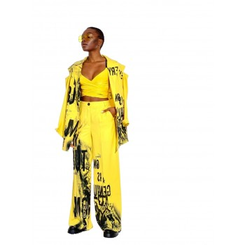 Suit for women yellow with black print