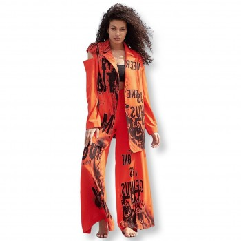 Women's red suit with black print
