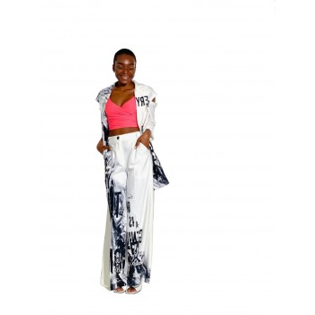 Women's white suit with black print
