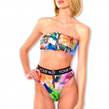 Swimming trunks with zip Print Flowers